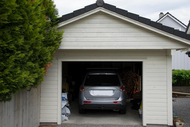 a car inside the garage