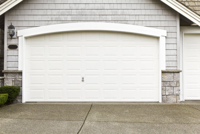 a new white garage